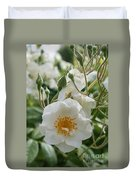 White Dog Rose And Buds Duvet Cover