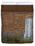White Door In Brick Building Duvet Cover