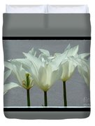 White Early Dawn Tulips Black Border Duvet Cover