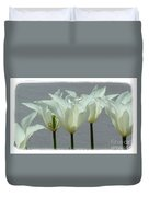 White Early Dawn Tulips White Bordered Duvet Cover