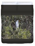 White Egret In The Swamp Duvet Cover