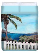 White Fence At English Harbour Antigua West Indies Duvet Cover