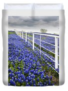 White Fence - Blue Bonnets Duvet Cover