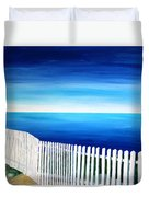 White Fence In Port Reyes National Seashore California Duvet Cover