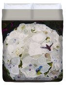 White Flower And Friendly Bee Mixed Media Painting Duvet Cover