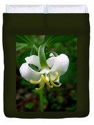 White Flowering Rose Trillium Duvet Cover