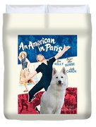 White German Shepherd Art Canvas Print - An American In Paris Movie Poster Duvet Cover