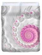 White Grey And Pink Fractal Spiral Art Duvet Cover