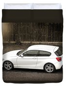 White Hatchback Car Duvet Cover