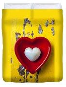 White Heart Red Heart Duvet Cover