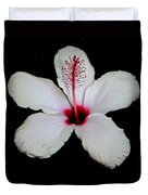 White Hibiscus Isolated On Black Background Duvet Cover
