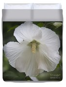 White Hibiscus Squared Duvet Cover by Teresa Mucha