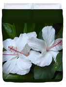 White Hibiscus Trio Waikiki Duvet Cover