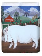 White Hog And Roses Duvet Cover