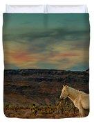 White Horse At Sunset Duvet Cover