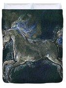 White Horse Minature Painting Duvet Cover