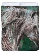 White Horse Painting Duvet Cover