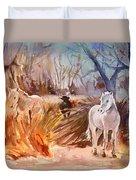 White Horses And Bull In The Camargue Duvet Cover