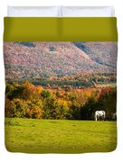 White Horses Grazing With View Of Green Mtns Duvet Cover