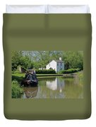 White House And House Boat Duvet Cover