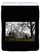 White House On A Cloudy Winter Day Duvet Cover