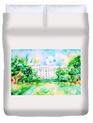 White House - Watercolor Portrait Duvet Cover