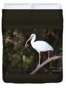 White Ibis On Mangrove Limp Duvet Cover