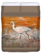 White Ibis Stroll Duvet Cover