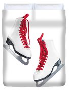 White Ice Skates With Red Laces Duvet Cover by Oleksiy Maksymenko