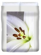 White Lily Close Up Duvet Cover