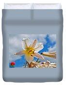 White Lily Flower Against Blue Sky Art Prints Duvet Cover