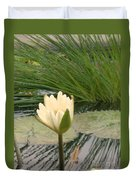 White Lily Near Pond Grass Duvet Cover