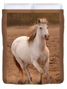 White Mare Approaches Number One Close Up Brighter Duvet Cover