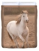 White Mare Approaches Number One Close Up Muted Duvet Cover