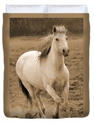 White Mare Approaches Number One Close Up Sepia Duvet Cover