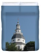 White Maryland State House Cupola Against Blue - Annapolis Duvet Cover