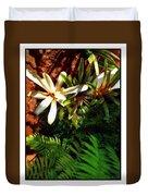 White Maui Flowers Duvet Cover