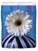White Mum In Striped Vase Duvet Cover
