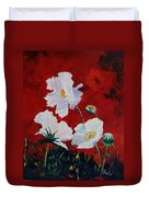 White On Red Poppies Duvet Cover