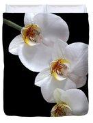 White Orchids On Black Vertical Duvet Cover