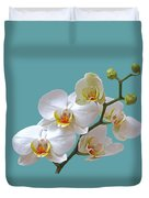 White Orchids On Ocean Blue Duvet Cover