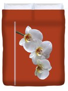 White Orchids On Terracotta Vdertical Duvet Cover