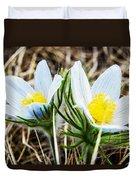 White Pasque Flower Duvet Cover