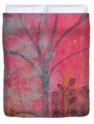 White Peace Bird On Pink Duvet Cover