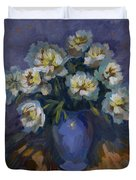 White Peonies Duvet Cover