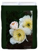 White Peony Flowers Series 2 Duvet Cover