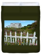 White Picket Fence In Mendocino Duvet Cover