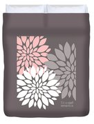 White Pink Gray Peony Flowers Duvet Cover