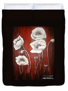 White Poppies Duvet Cover by Elena  Constantinescu