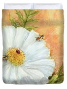 White Poppy And Bees Duvet Cover